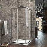 EMKE Duschkabine 90x90cm Eckeinstieg Duschabtrennung Nano Glas Schiebetür Duschtür Höhe 195cm