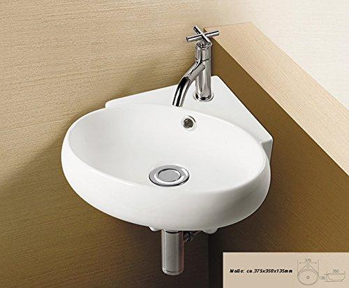 1x Eckwaschbecken aus Keramik, weiß 37,5 x 35 x 13,5 cm / Waschbecken