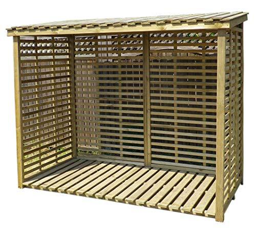 Gartenpirat Kaminholzregal XXL mit Rückwand für 3,8 m³ Brennholz Holzlager groß außen