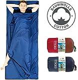 MIQIO 2in1 Baumwoll Hüttenschlafsack mit durchgängigem Reißverschluss (Koppelbar): Leichter Komfort Reiseschlafsack und XL Reisedecke in Einem - Sommer Schlafsack Innenschlafsack Inlett Inlay