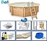 Paradies Pool Holzpool Bali Premium Set inkl. Zubehör, Edelstahlleiter, Sandfilteranlage, Schwimmbad für den Garten, Badespaß für die ganze Familie, Achteck-Pool, 440 x 136 (Ø x H), Menge: 1 Stück