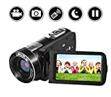 Videokamera Camcorder HD 1080p Digitalkamera 24.0MP 18facher Digitalzoom 3,0 Zoll LCD Bildschirm 270 ° Drehung mit Fernbedienung