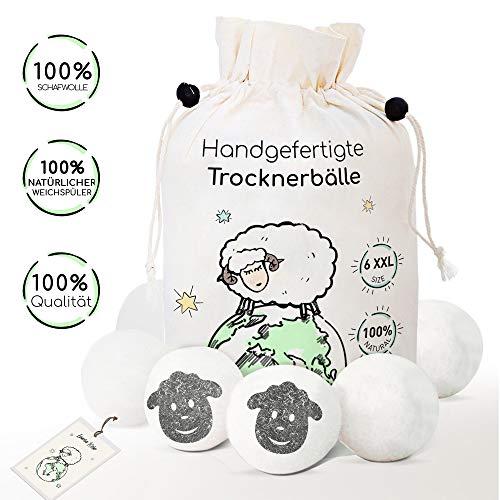 6 XXL Trocknerbälle aus 100% Schafwolle - Der Natürliche Weichspüler für Wäschetrockner - Trockner Bälle für Daunenjacken - Filzbälle und Trocknerkugeln - Pflegt die Wäsche gegen Fussel