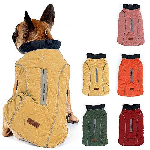 TFENG Reflektierend Hundejacke für Hunde, Hundemantel Warm gepolstert Puffer Weste Welpen Regenmantel mit Fleece (Gelb, Größe XS)