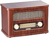 auvisio Nostalgieradio Stereo-FM-Radio 12W, Holz, Akku, Bluetooth, USB Ladeport (Vintage Radio)