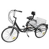 Ridgeyard 24' 6 Geschwindigkeit 3 Rad erwachsenen dreirad Fahrrad Pedal Dreirad Trike Fahrrad mit Shopping Korb (Black)