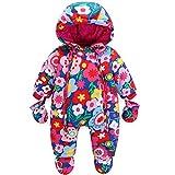 JiAmy Baby Winter Overall Mit Kapuze Mädchen Schneeanzüge mit Handschuhen und Füßlinge Warm Kleidungsset 9-12 Monate