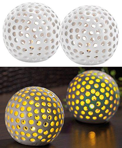 Lunartec Keramikkugeln mit Licht: Kabellose LED-Dekoleuchten aus Keramik im 2er-Set (LED Tischleuchte Batterie)