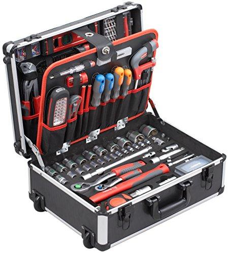 Meister Werkzeugtrolley 156-teilig  Werkzeug-Set  Mit Rollen  Teleskophandgriff | Profi Werkzeugkoffer befüllt | Werkzeugkiste fahrbar auf Rollen | Werkzeugbox komplett mit Werkzeug | 8971440