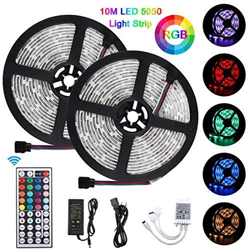 LED Streifen, LED Strip 10M 300 LED Lichtband, 5050 Lampenperlen,12V, Wasserdicht IP65, mit 44 Tasten IR Fernbedienung, Dekoration für Küche, Terrasse, Party und ganzes Haus