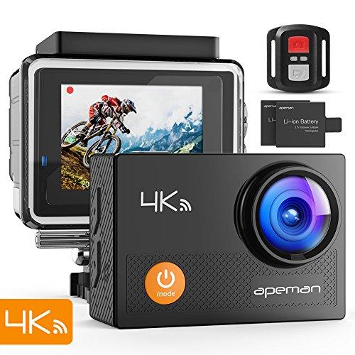 APEMAN Action Cam 4K WiFi Camera 16MP 30M Wasserdicht Unterwasser Kamera für Motorrad Fahrrad Reiten