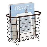 mDesign freistehender Zeitungshalter fürs Badezimmer – schöner Zeitschriftensammler aus Metall – schickes Badzubehör für Zeitungen, Magazine, Bücher und Co.
