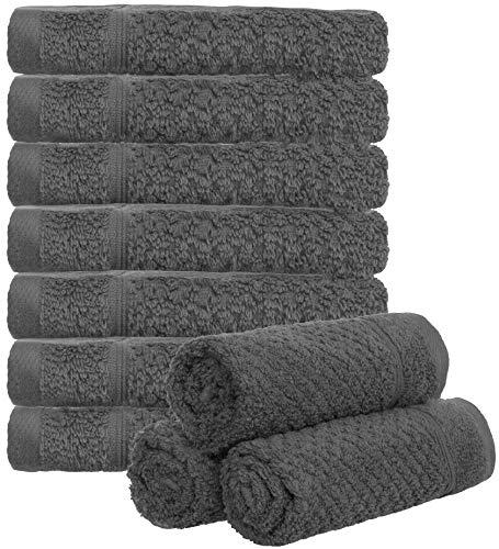 Brandsseller 10er Set Seiftücher Waschlappen Gästehandtücher Reiskornoptik Bad/Haushalt 30x30cm 100% Baumwolle 470 g/qm Anthrazit