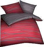 Kaeppel Wendebettwäsche 'Motion' Satin rubinrot Größe 135x200 cm (80x80 cm)