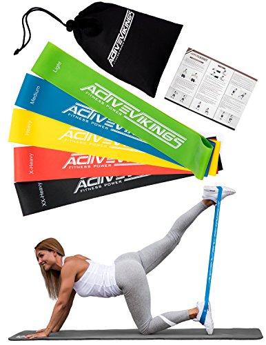 Fitnessbänder Set 5-Stärken by ActiveVikings - Ideal für Muskelaufbau Physiotherapie Pilates Yoga Gymnastik und Crossfit | Fitnessband Gymnastikband Widerstandsbänder