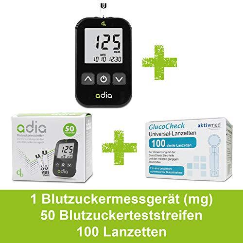 Adia Vorteilspack Blutzuckermessgerät-Set (mg) + 50 Blutzuckerteststreifen + 100 Lanzetten zur Kontrolle des Blutzuckers(codefree) zur Überwachung des Blutzuckers