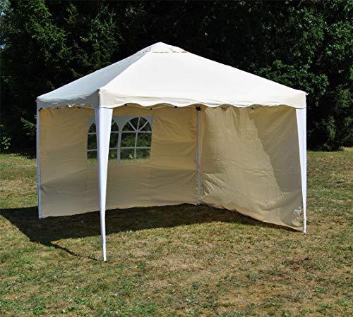 Ks ALU Faltpavillon 3 x 3 mit 2 Seitenwänden Wasserabweisend Faltzelt Pavillon Falt Pavillon Gartenpavillon (Beige)