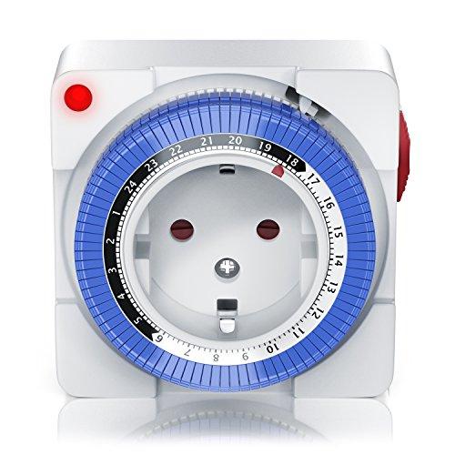 Mechanische Zeitschaltuhr | 24 Stunden Anaolg Timer | Steckdosen-Schaltuhr | Zeitprogrammstecker mit 96 Schaltsegmente | Schieberegler für Zeitangabe | 3680W | mit Kinderschutzsicherung | Weiß
