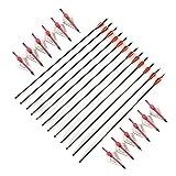 VERY100 Carbonpfeile mit einem Set aus Breitkopf Jagdspitzen und Feldspitzen zum Bogenschießen (100 Grain / 6,48°g), geeignet für Compoundbögen, 12 Stück (Rot)