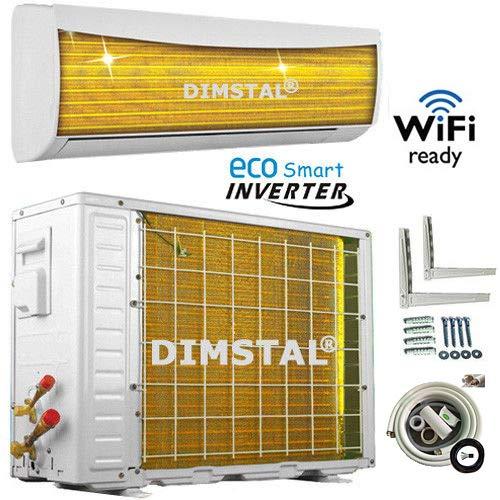 A++/A++ INVERTER Split Klimaanlage mit Wärmepumpe Klimagerät ECO Smart WiFi/WLAN-Ready komplett Set inkl. 3m Kupferleitungen mit Heizfunktion (9000/12000 btu) (3,5 kW/12000btu)