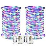 RcStarry 2 Stück Batterie LED Lichtschlauch Außen 100 LEDs 10 Meter IP68 Wasserdicht 8 Modi mit Fernbedienung und Timer DIY Dekoration für Weihnachten, Garten, Hochzeit - Bunt