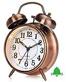 Retro Analog Wecker, Doppelglockenwecker mit Ohne Ticken Glockenwecker, Vintage Batteriebetrieben Laut Quarz Wecker Tischuhr mit Nachtlicht für Schlafzimmer Braun