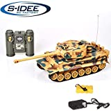 s-idee 22003 Battle Panzer 99808 KingTiger 1:28 mit integriertem Infrarot Kampfsystem 2.4 Ghz RC R/C Ferngesteuerter Panzer Tank Kettenfahrzeug IR Schussfunktion Sound Licht Schuss Sound Beleuchtung