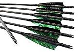 Arrowforge - Pfeile schwarze traditionelle Holzpfeile Camo Grün (6er Pack) Bogenschießen