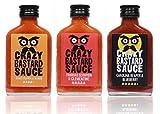 Crazy Bastard Sauce - 3er Set - Extreme Scharfe Chilisauce mit der Schärfste Chilis der Welt - Ghost Pepper, Trinidad Scorpion, und Carolina Reaper! (3 x 100ml)