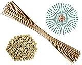 100 Pflanzstäbe | 90 cm lang | aus Bambus | Ø 6 mm | 40 Pflanzenbinder | zu verwenden als Blumenstäbe, Rank- und Pflanzstab | sehr stabil