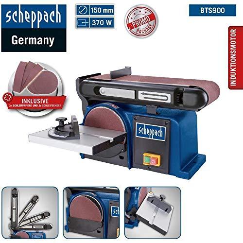 Scheppach Band-Tellerschleifer BTS 900 (Schleifmaschine mit 370W, 230V, 2850 min-1, Schleifteller Ø 150mm, inkl. 3x Schleifpapier und 3x Schleifband)