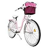 Milord. 2018 Komfort Fahrrad mit Korb, Hollandrad, Damenfahrrad, 3-Gang, Rosa, 28 Zoll