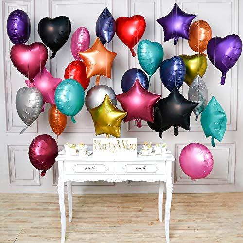 PartyWoo Folienballon Herz Stern, 30 Stück 18 Zoll Helium Folienballon Satz von Folienballons Herz, Folienballon Sterne und Folienballon Rund, Riesen Folienballon für Twinkle Twinkle Little Star Party