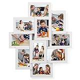 SONGMICS Bilderrahmen Collage für 10 Fotos je 10 x 15 cm (4' x 6') aus MDF-Platten, Montage erforderlich, Weiß RPF20WT