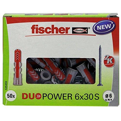 fischer DUOPOWER 6 x 30 S - Universaldübel mit Senkkopfschraube für eine Vielzahl von Baustoffen - Allzweckdübel für Schilder, Leuchten, Briefkästen uvm. - 50 Stück - Art.-Nr. 535459