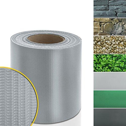Sichtschutzstreifen PVC | Sichtschutzfolie für den Gartenzaun oder Balkon | inkl. 20 Befestigungsclips | für Einzel- und Doppelstabmatten geeignet | 19 cm x 35 m | einfarbig oder mit Motiv | Grau