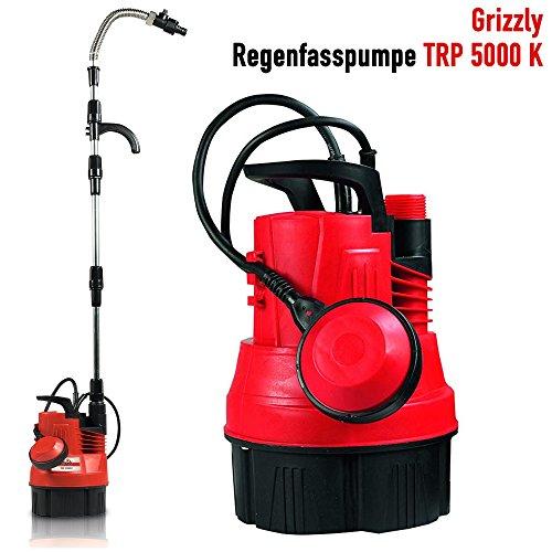 Grizzly Regenfasspumpe TRP 5000 K, Regenpumpe, Bewässerungspumpe, Tauchpumpe mit 350 Watt Motor, Fördermenge 5000 l/h. Tauchtiefe 7 m, Automatische Selbstabschaltung, Geräuscharm