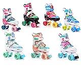 meteor Retro Rollschuhe: Disco Roller Skate wie in den 80er Jahren, Jugend Rollschuhe, Kinder Quad Skate, 5 Verschiedene Farbvarianten, Einstellbare Größe des Schuhs (M 35-38, Eden)