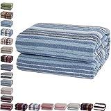 Mixibaby Tagesdecke Wohndecke Wendedecke Kuscheldeck Sofadecke Couchdecke Baumwolle, Farbe:Blau gestreift, Maße Decke Sarah:150 cm x 200 cm