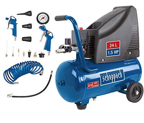 Scheppach Kompressor HC25o (1100W, 24 L, 8 bar, Ansaugleistung 165 l/min, Druckminderer, ölfrei) - inkl. 13-teiligem Druckluft-Werkzeug-Set + 5 m Spiralschlauch (Mini)