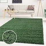 ayshaggy Shaggy Teppich Hochflor Langflor Einfarbig Uni Grün Weich Flauschig Wohnzimmer, Größe: 200 x 200 cm Quadratisch