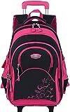 Trolley Rucksack,Coofit Rollen Rucksack Trolley Schultasche Rucksack Kinder Schulrucksack Schultrolley Schulranzen mit Rollen, Groß-L - Lila
