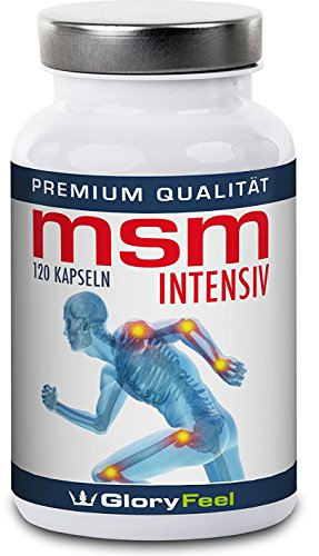MSM Kapseln Intensiv | 1.600 mg Organischer Schwefel Pulver pro Tagesdosis | 120 Vegane Kapseln Ohne Magnesiumstearate | Nahrungsergänzung von GloryFeel