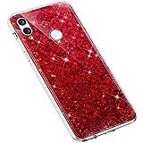 Uposao Kompatibel mit Huawei P Smart 2019 Handyhülle Glänzend Glitzer Bling Strass Kirstall Schutzhülle Durchsichtig TPU Silikon Case Transparent Crystal Clear Hülle TPU Rückschale Etui,Rot
