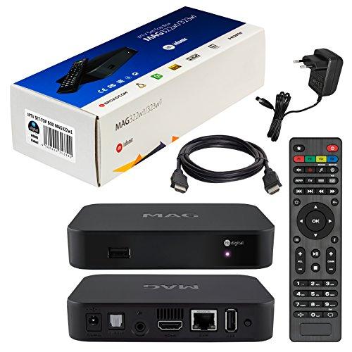 MAG 322w1 Original Infomir & HB-DIGITAL IPTV SET TOP BOX mit WLAN WiFi integriert bis zu 150Mbps (802.11 b/g/n) 1x1 Multimedia Player Internet TV IP Receiver (HEVC H.256 support) Nachfolger von MAG 254 + HB Digital HDMI Kabel