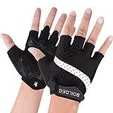 BOILDEG Fahrradhandschuhe Fingerlos Fitness Handschuhe Atmungsaktiv Rutschfestes Stoßdämpfende Radsporthandschuhe für MTB Fitness Damen und Herren(Weiß,M)