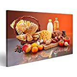 islandburner Bild Bilder auf Leinwand Viele tägliche Lebensmittel Zutaten Küchenbild Wandbild Leinwandbild Poster XXL Format