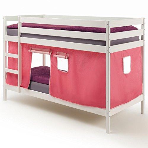 IDIMEX Etagenbett Kinderbett Stockbett Doppelstockbett FELIX, Kiefer massiv weiß lackiert, inklusive Vorhang
