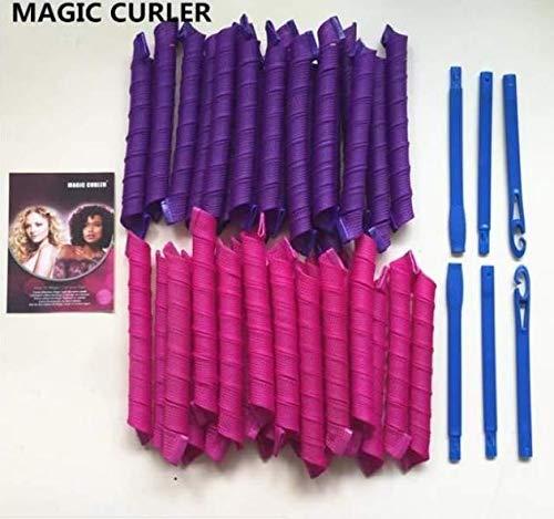 40 Stück Manuelle Lockenwickler, Marmor, magisch, aus Kunststoff, mit Friseurwerkzeug, für Damen, 55 cm