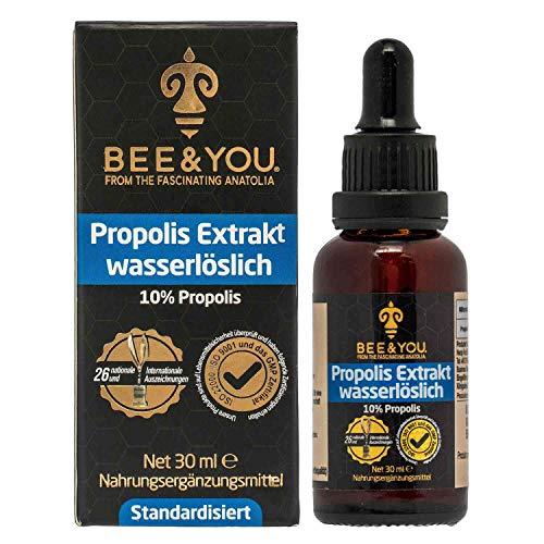 Bee&You Propolis Tinktur Wasserlöslich mit 10% Natürlichem Propolis Extrakt (ohne Alkohol-Standardisiert auf 10%-Fairer handel-Keine Zusatzstoffe)
